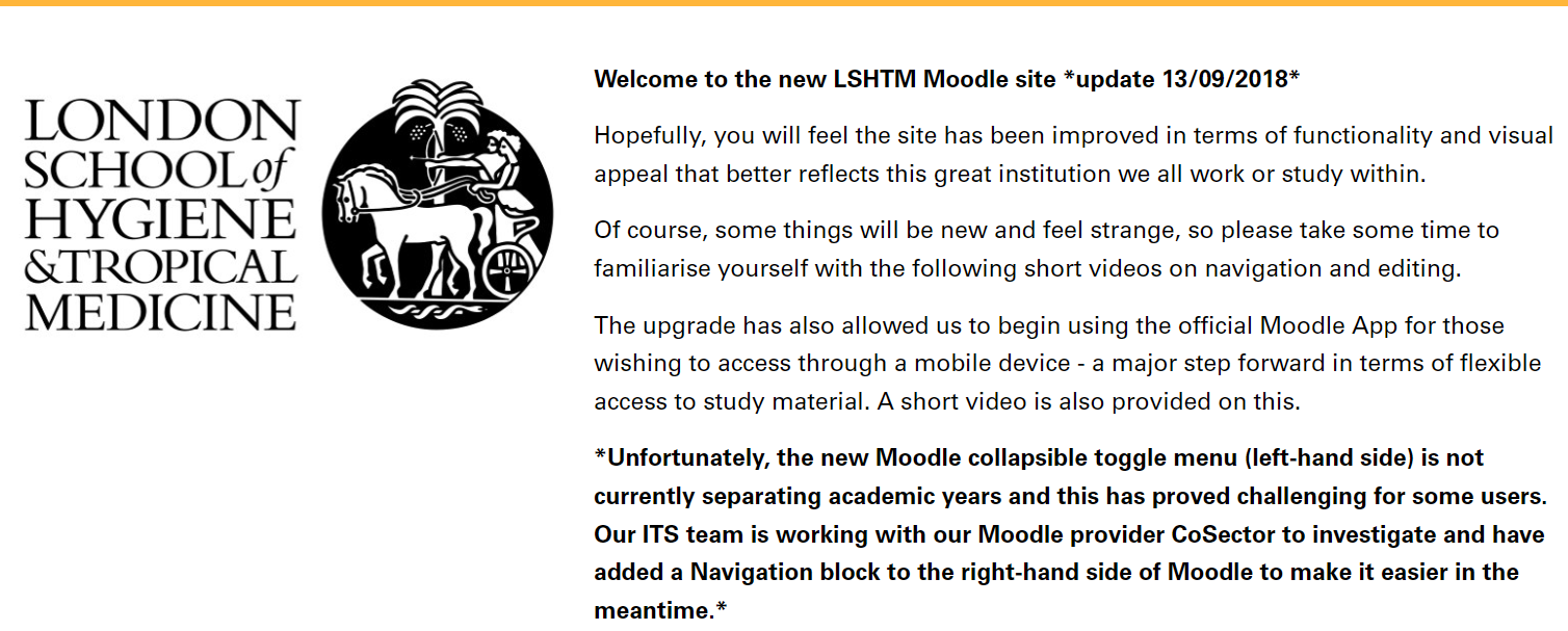 Introductory text to the new Moodle site outlining improvements in functionality.