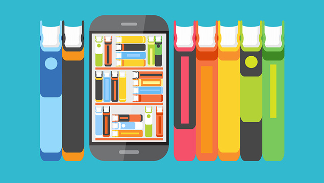 Graphic of paper books surrounding a digital device